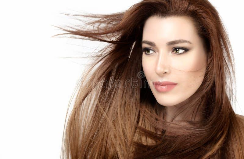 Härlig modellflicka med sunt långt brunt hår royaltyfri fotografi