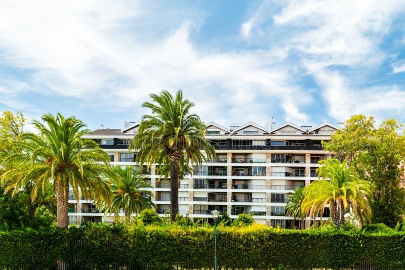 Härlig modern semesterort i exotiskt landskap och palmträd arkivbilder