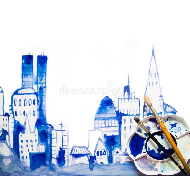 Härlig modern stadsväg med skyskrapor, illustration som göras av akvarelleffekter Akvarell texturerad samling arkivbilder