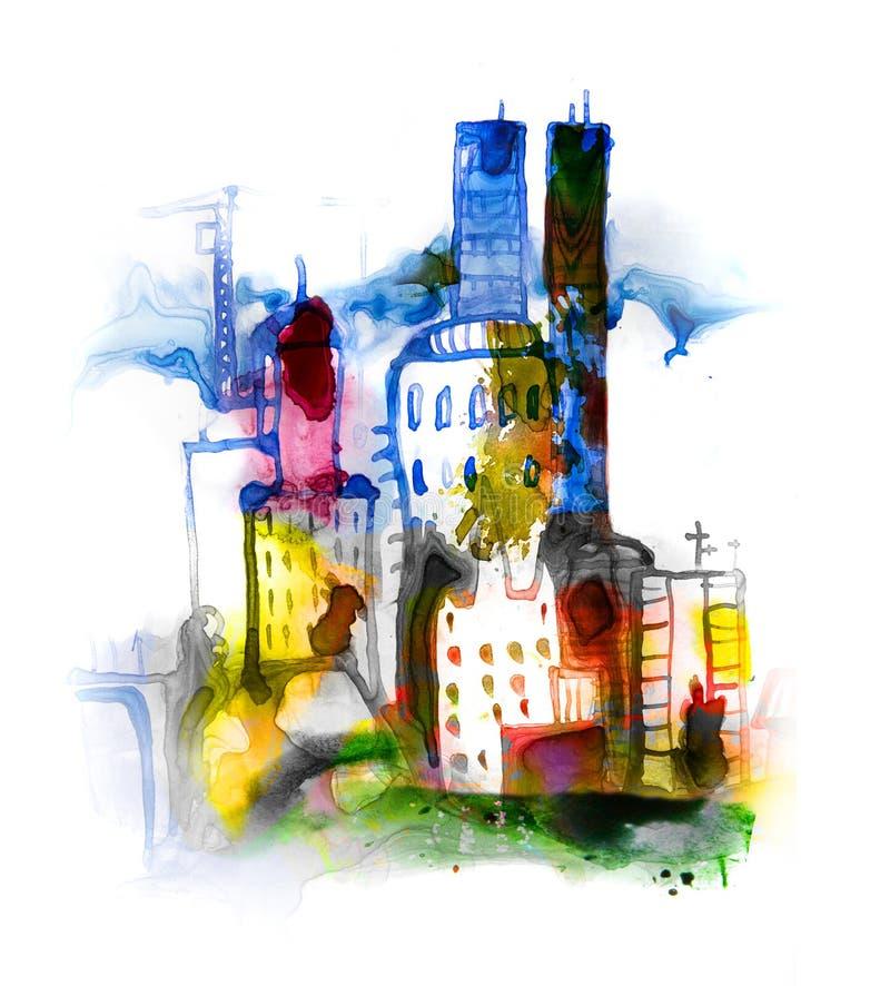 Härlig modern stadsväg med skyskrapor, illustration som göras av akvarelleffekter Akvarell texturerad samling vektor illustrationer
