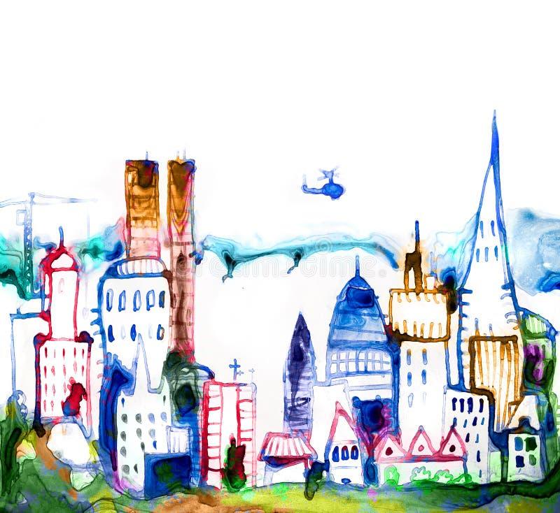 Härlig modern stadsväg med skyskrapor, illustration som göras av akvarelleffekter Akvarell texturerad samling royaltyfri illustrationer