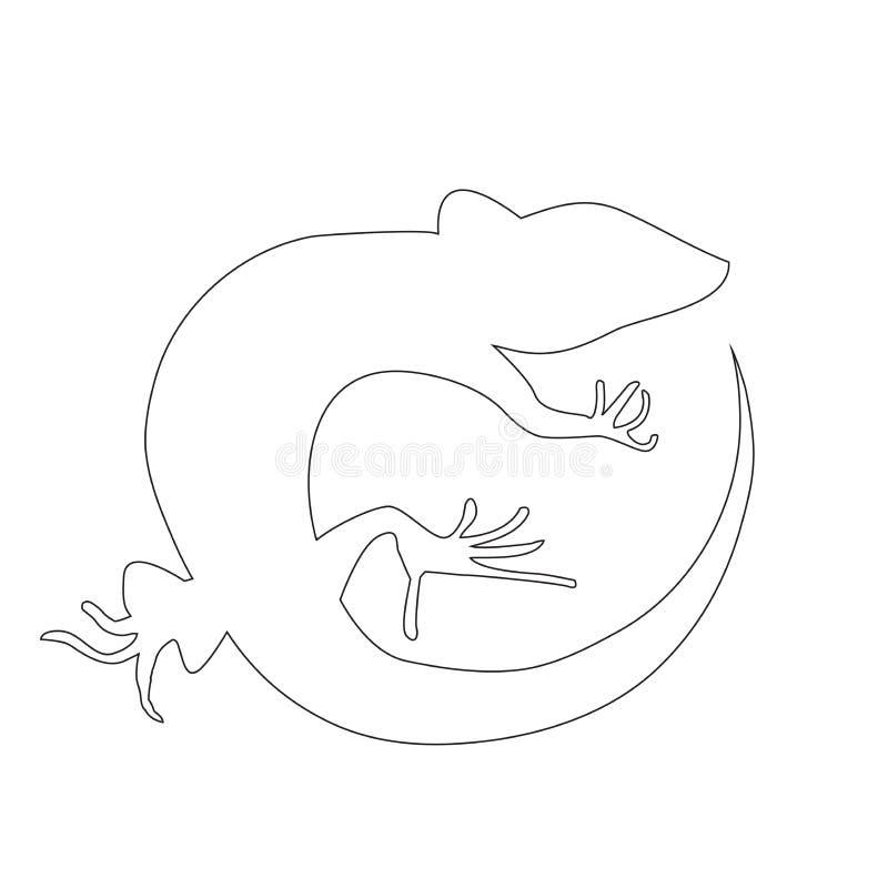 Härlig monokrom ödla, ödlakontur royaltyfri illustrationer