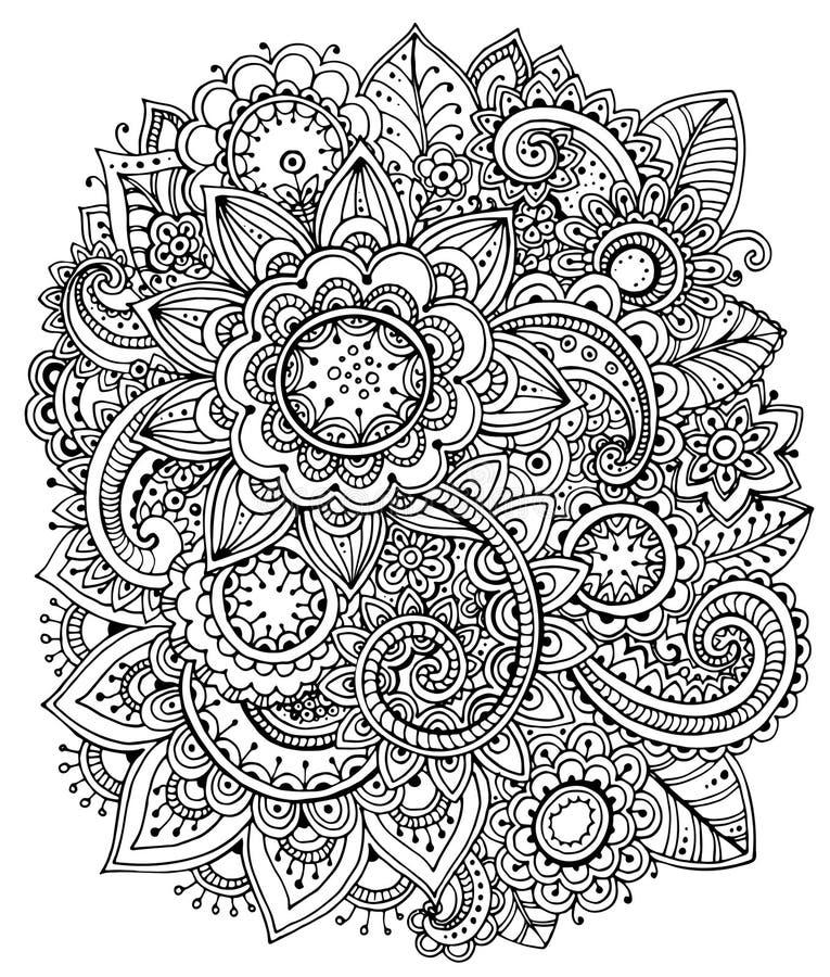 Härlig monokrom blom- modell stock illustrationer
