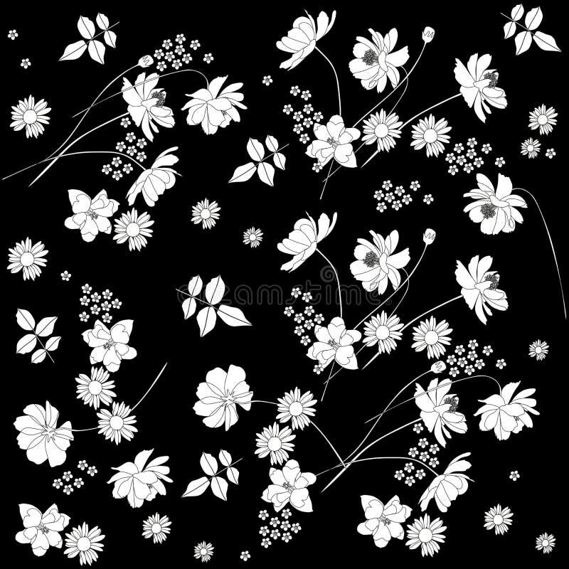 Härlig monokrom ditsy blom- bakgrund också vektor för coreldrawillustration bakgrundsdesignelement fyra vita snowflakes stock illustrationer