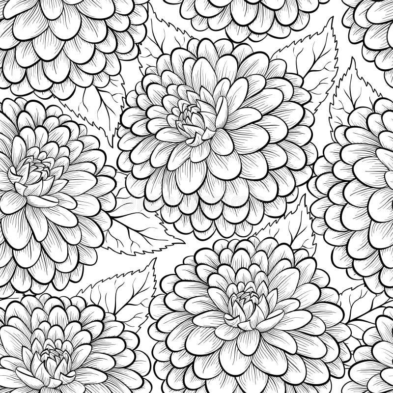 Härlig monokrom, svartvit sömlös bakgrund med blommadahlian stock illustrationer