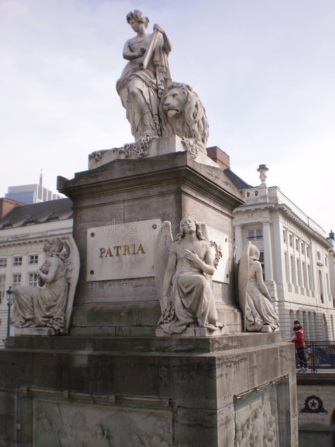 Härlig monument till det belgiska hemlandet i Bryssel arkivbilder