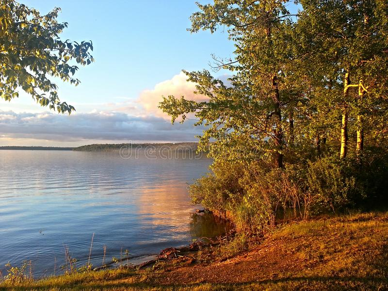Härlig morgon på sjön fotografering för bildbyråer