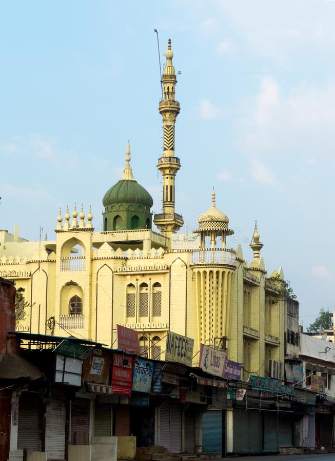 Härlig moskégräsplanmoské i Indien arkivbilder