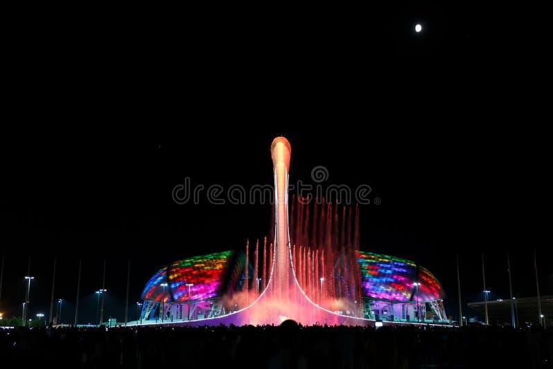 Härlig musikalisk springbrunn i staden av Sochi på bakgrunden av stadion Fisht royaltyfria foton