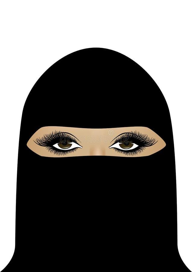 Härlig muslimsk kvinna i hijab, vertikal stående som isoleras på den vita bakgrunden, vektor vektor illustrationer