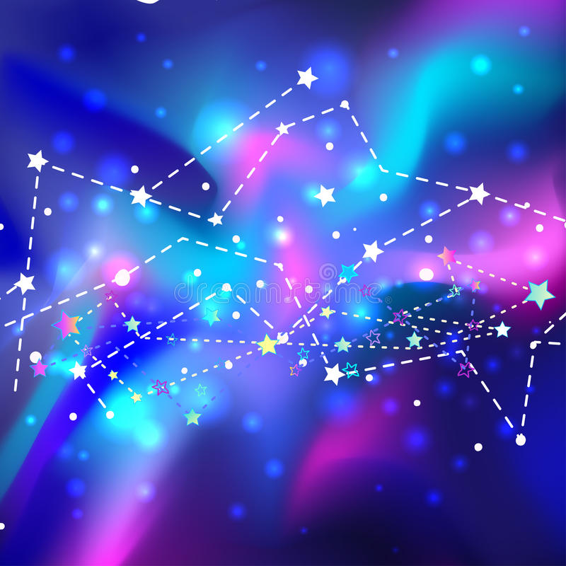 Härlig mystikergalax Kosmisk bakgrund för vektor abstrakt begrepp mot avstånd för stående för bakgrundskvinnlig ytterkant royaltyfri illustrationer