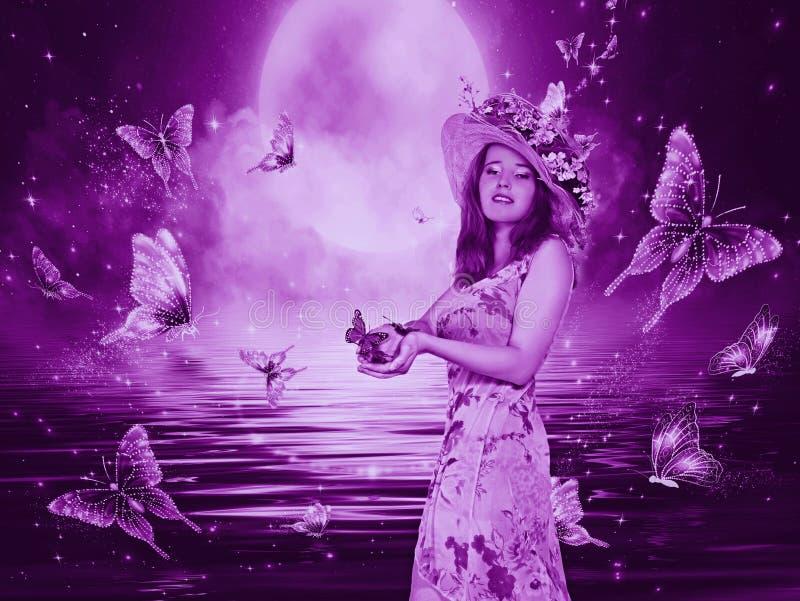 Härlig mystisk flicka med fjärilar arkivbilder