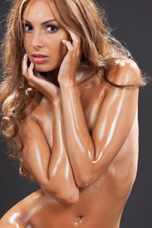 Härlig naken kvinna arkivfoto