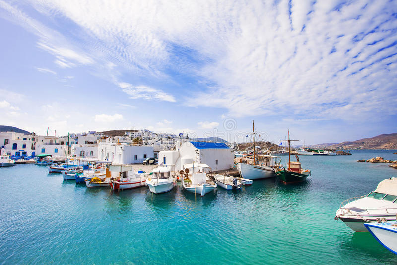 Härlig Naousa by, Paros ö, Cyclades, Grekland royaltyfri foto