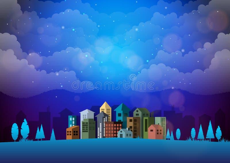 Härlig natthimmel och stads- cityscape gör sammandrag bakgrund plant stock illustrationer