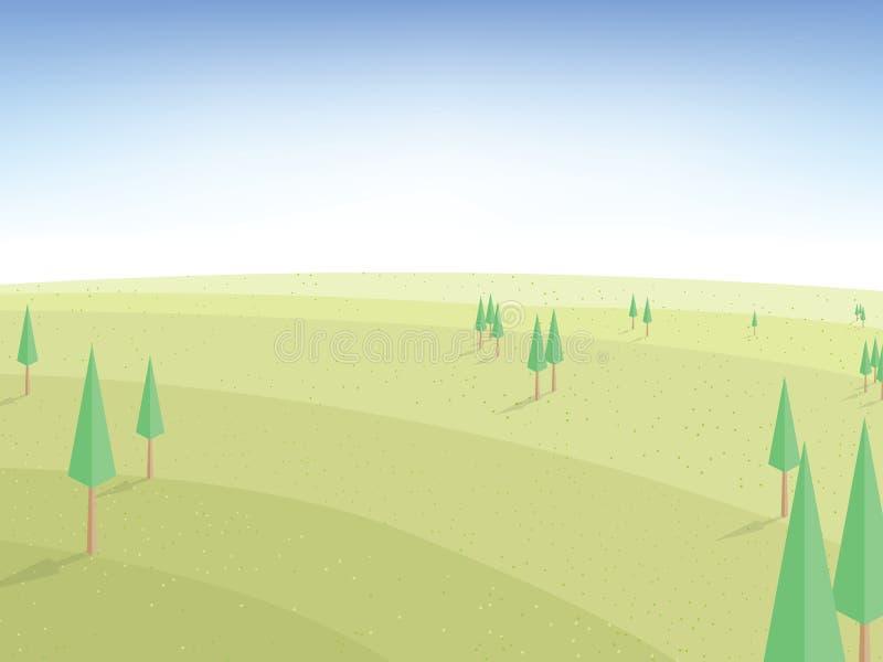 Härlig natur-, fält-, himmel- och trädvektor, landskapbackgrou vektor illustrationer