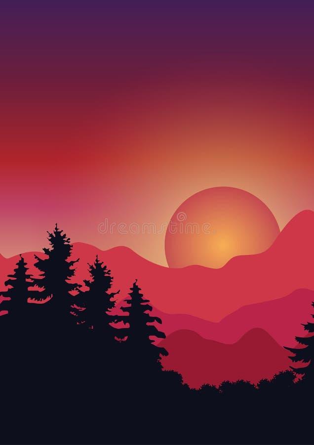Härlig natur på solnedgången, vektorillustrationer vektor illustrationer