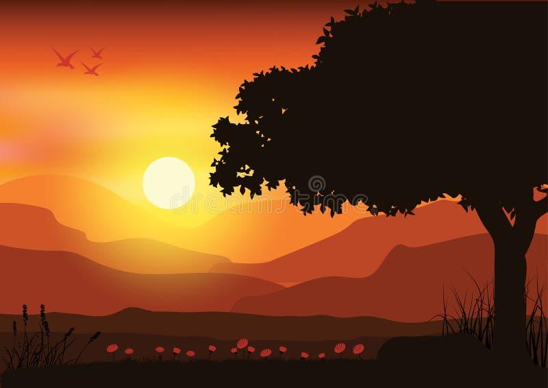 Härlig natur på solnedgången, vektorillustrationer royaltyfri illustrationer