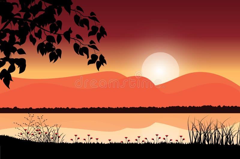 Härlig natur på solnedgången, vektorillustrationer stock illustrationer