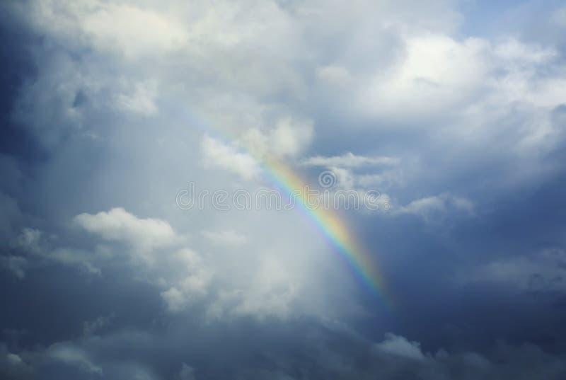 Härlig naturlig bakgrund med en ljus mångfärgad regnbåge royaltyfri bild