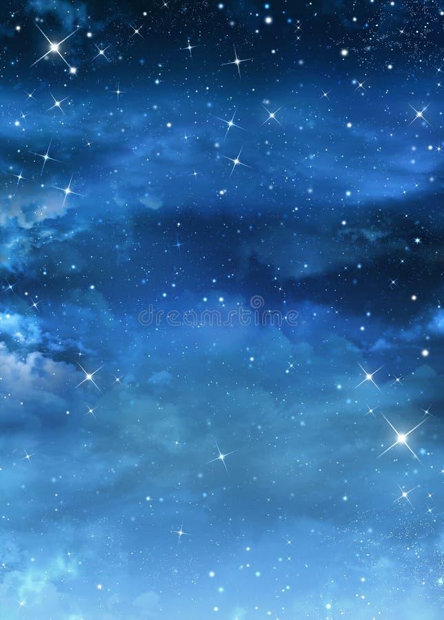 Härlig Nightly himmel med stjärnor vektor illustrationer