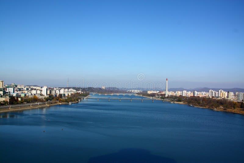 Härlig Nordkorea Pyongyang stad arkivfoto