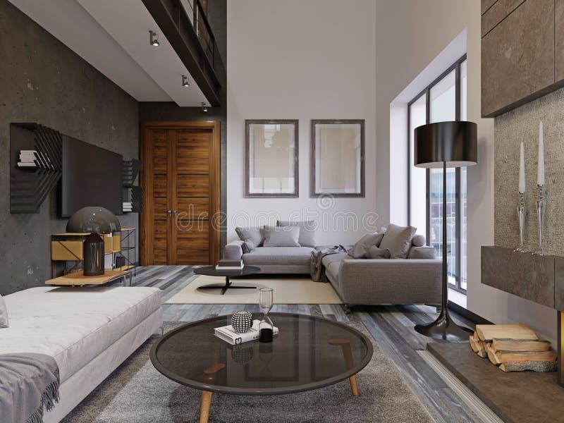 Härlig och stor inre för hipsterdesignvardagsrum med ädelträgolv och välvt tak i nytt lyxigt hem entryway, och royaltyfri illustrationer