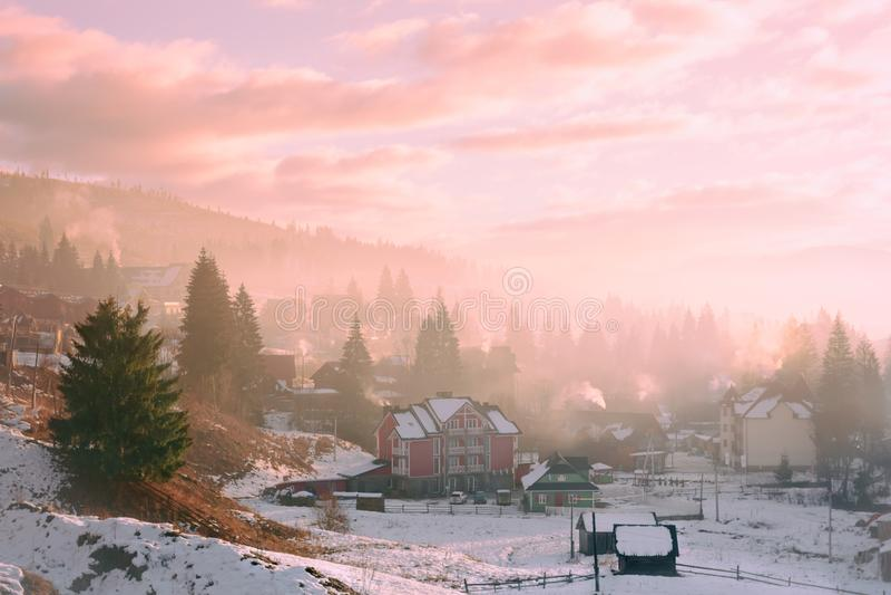 Härlig ogenomskinlighet i vintermorgonen i Bukovel, Ukraina fotografering för bildbyråer