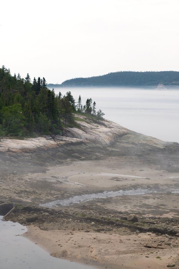 Härlig ojämn Shoreline i nordliga Quebec Kanada arkivbild