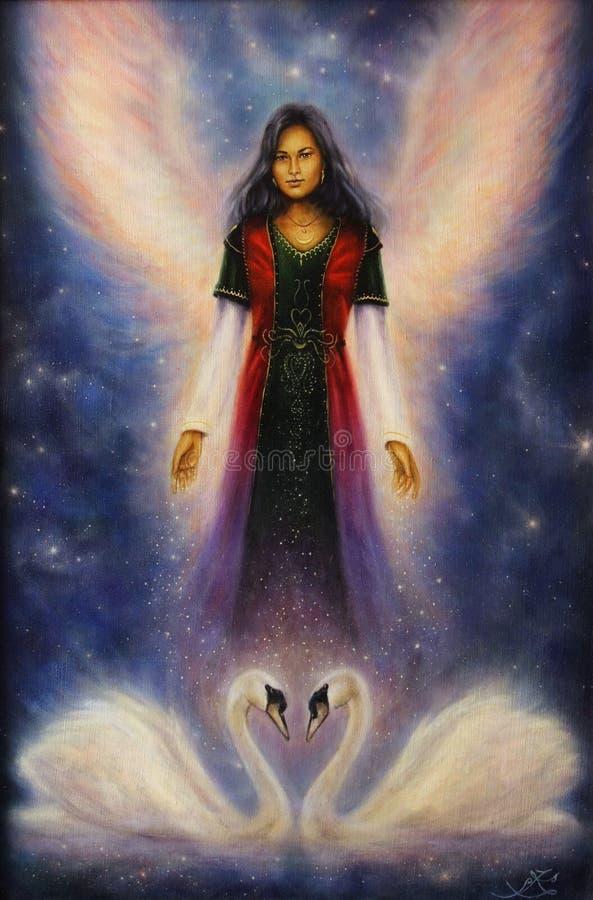 Härlig olje- målning av en ängelkvinna med strålningsvingar stock illustrationer