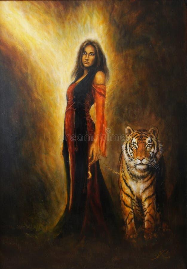 härlig olje- målning på kanfas av en mystisk kvinna i historisk klänning med en väldig tiger vid hennes sida stock illustrationer