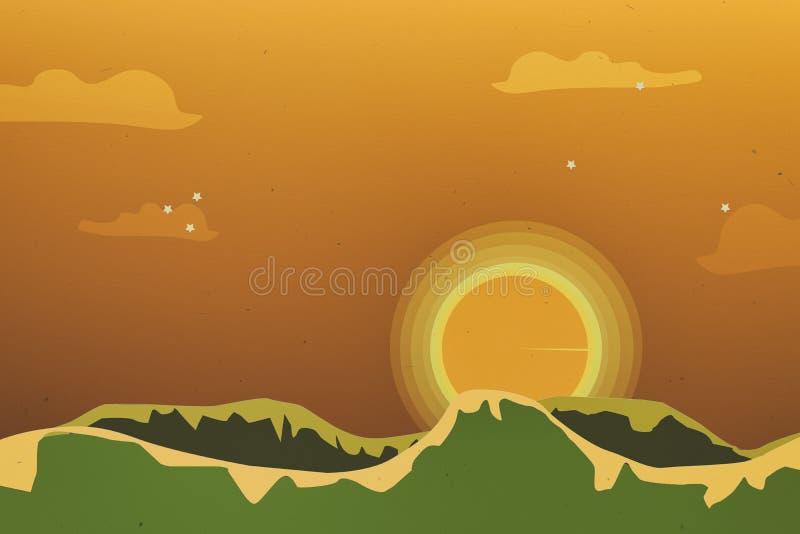 Härlig orange himmel på guld- timmesoluppgångtid vektor illustrationer
