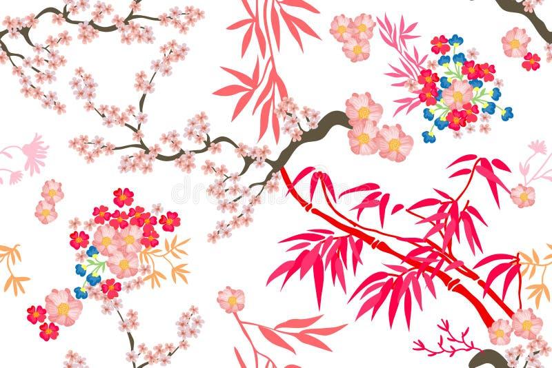 Härlig orientalisk trädgård royaltyfri illustrationer
