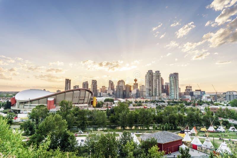 Härlig panorama av Calgary, Alberta, Kanada royaltyfria bilder