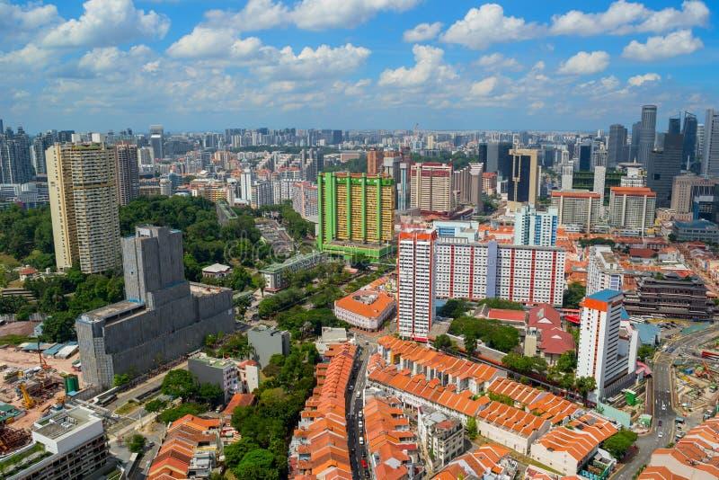 Härlig panorama- flyg- sikt av kineskvarterområdet i Singapore fotografering för bildbyråer