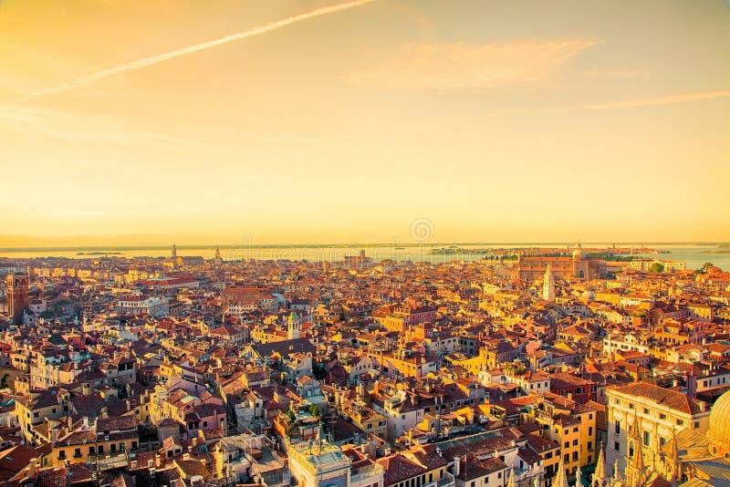 Härlig panorama- flyg- sikt av Venedig royaltyfria bilder