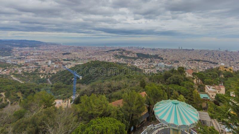 Härlig panoramautsikt av staden av Barcelona Spanien arkivfoto