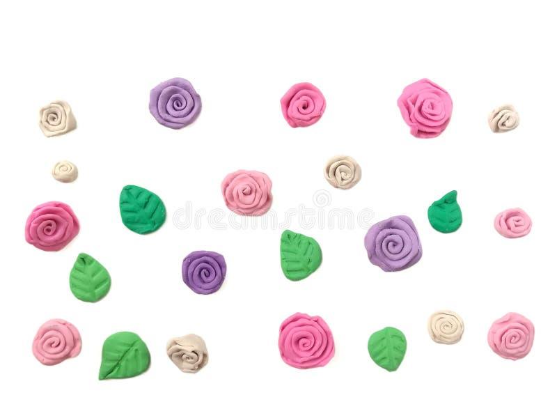 Härlig pastellfärgad blommaplasticinelera, blom- deg för gullig tapet fotografering för bildbyråer