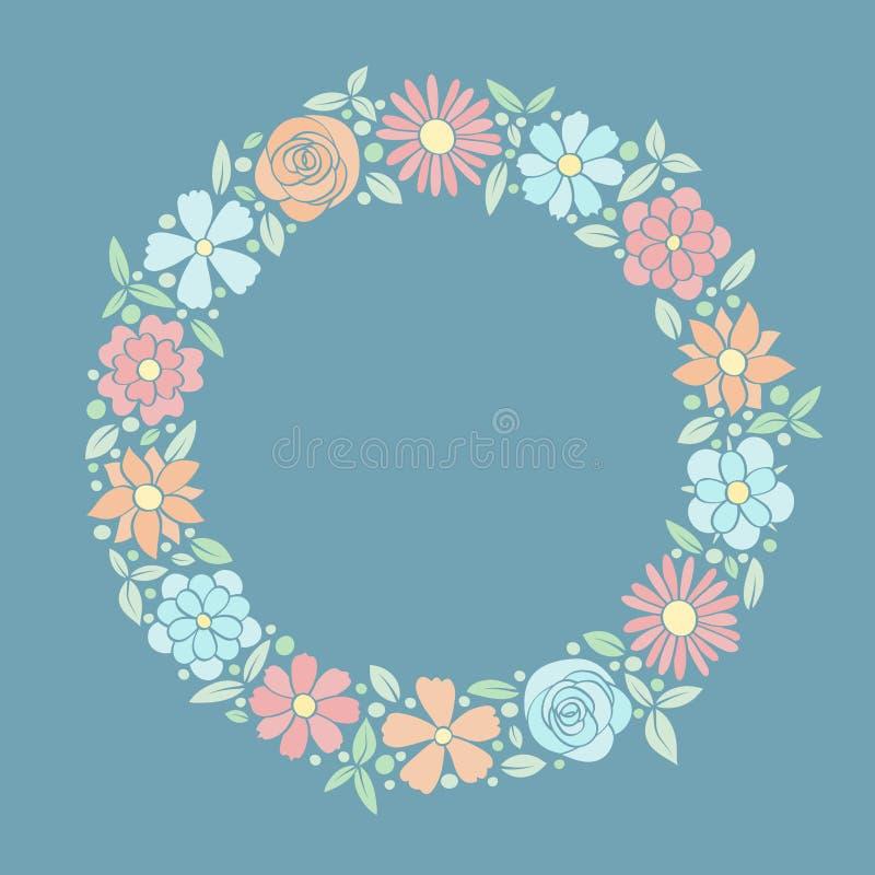 Härlig pastellfärgad färgad bakgrund med blommor Begrepp av en mall av ett kort med copyspace royaltyfria bilder