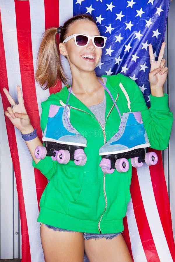 Härlig patriotisk flicka