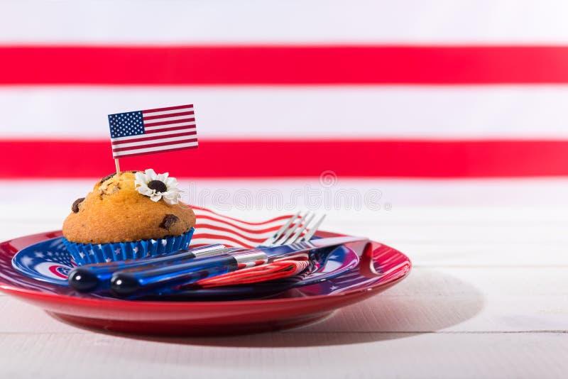 Härlig patriotisk tabellinställning royaltyfria bilder