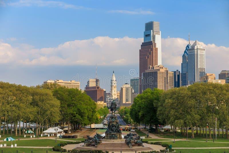 Härlig Philadelphia horisont fotografering för bildbyråer