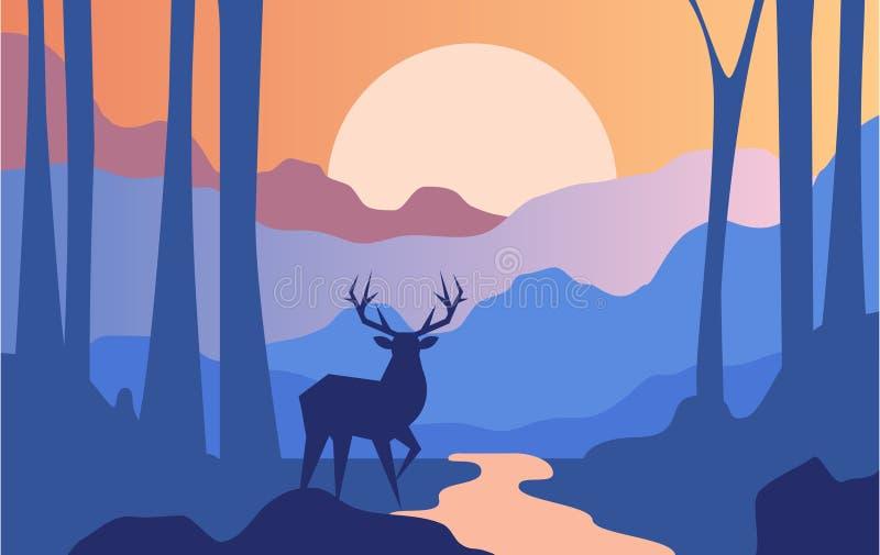 Härlig plats av naturen, det fridsamma landskapet med skogen och hjortar på aftontid, mall för banret, affisch royaltyfri illustrationer