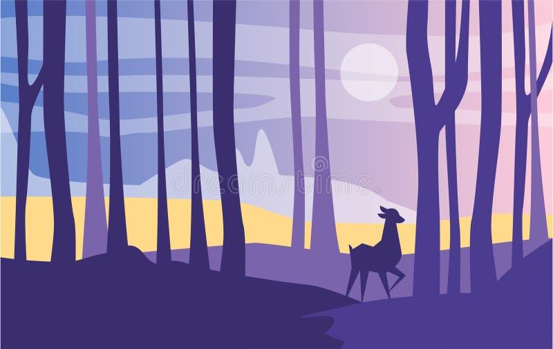 Härlig plats av naturen, det fridsamma landskapet med skogen och rådjur på nattetid, mall för banret, affisch stock illustrationer