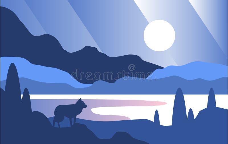 Härlig plats av naturen, fridsam mountainlandscape med vargen på natten, mall för banret, affisch, tidskrift, räkning stock illustrationer