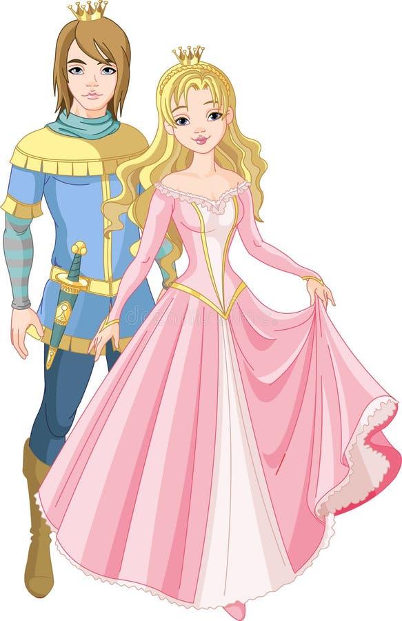 Härlig prince och princess stock illustrationer