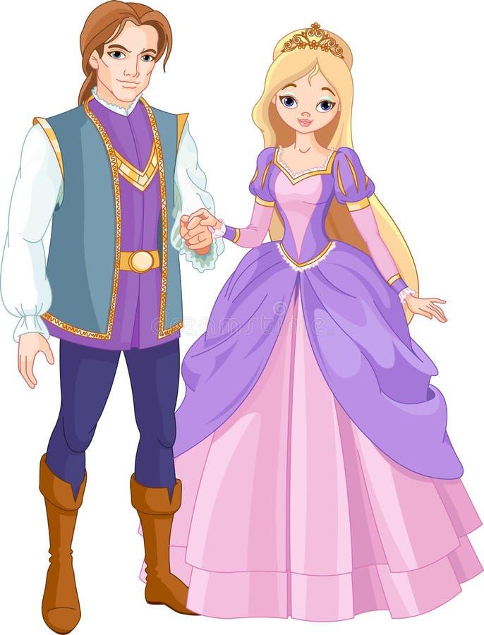 härlig princeprincess stock illustrationer