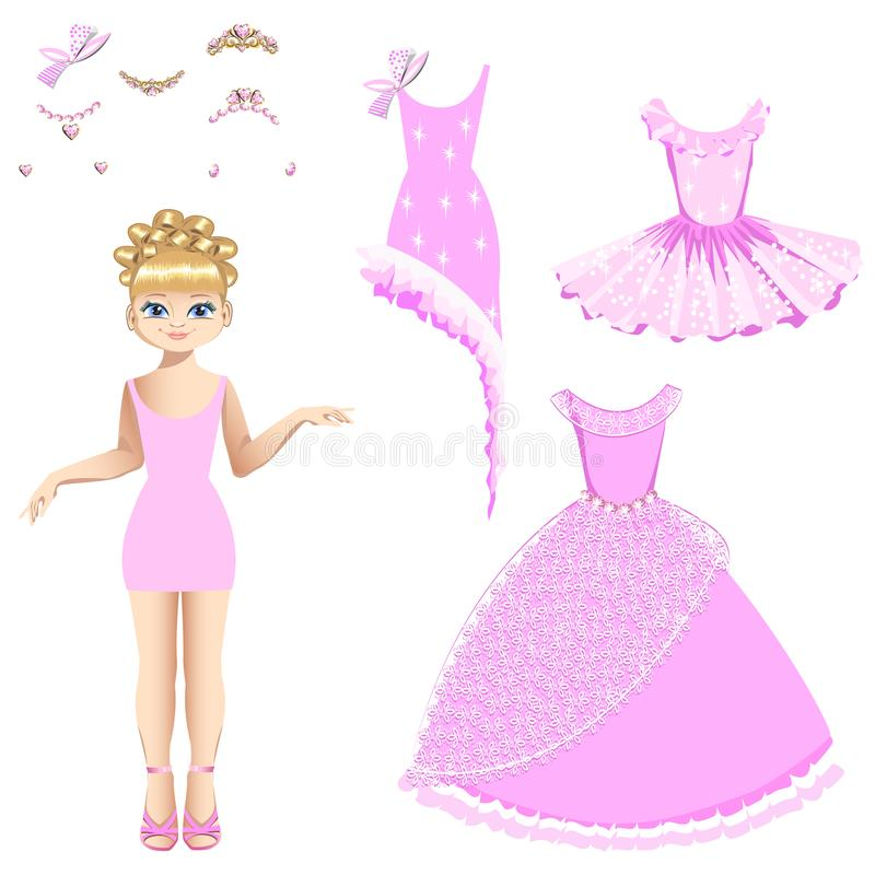 Härlig prinsessa med en samling av klänningar och tillbehör royaltyfri illustrationer