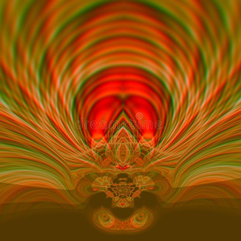 Härlig psykedelisk konstillustrationdesign Surrealistiskt grafiskt konstverk abstrakt prydnad Kulör bakgrund för brunt swirls royaltyfri illustrationer