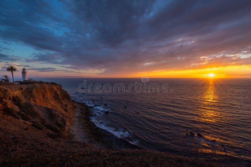 Härlig punkt Vicente Lighthouse på solnedgången arkivbild
